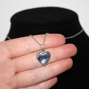 """Beautiful silver and abalone heart necklace 16"""""""